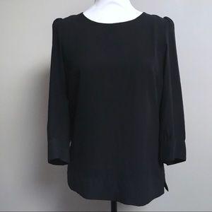 H&M black 3/4-sleeve popover blouse